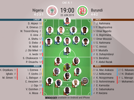 Nigeria v Burundi, Africa Cup of Nations, Group B, 22/06/2019, Official Lineups, BeSoccer