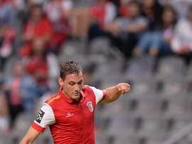 Nikola Stojiljkovic anota el primer tanto del encuentro para el Braga. Twitter