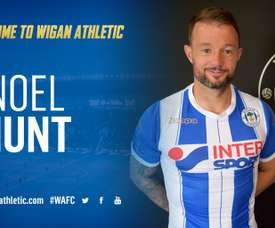 Noel Hunt llega libre al Wigan Athletic. TwitterWiganAthletic