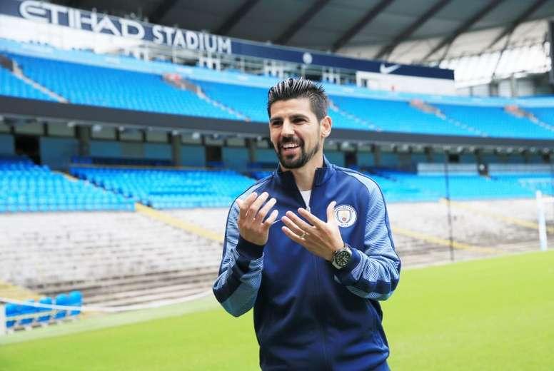 L'Espagnol Nolito lors de sa prèsentation à Manchester City. ManCity