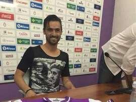 Nuno Silva, con una camiseta de Franco en su presentación con el Jaen. Twitter