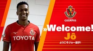 Jô vai jogar no Japão. Twitter/Nagoya Grampus