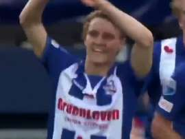 Odegaard a marqué son premier but avec Heerenveen. Twitter
