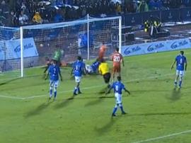 Odriozola bundled the ball in against Melilla. Captura/beINSports