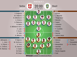Official line-ups for the Group E clash between Serbia and Brazil. BeSoccer