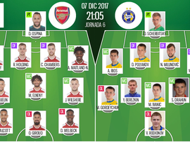 Official line-ups for the Europa League tie between Arsenal and BATE Borisov. BeSoccer