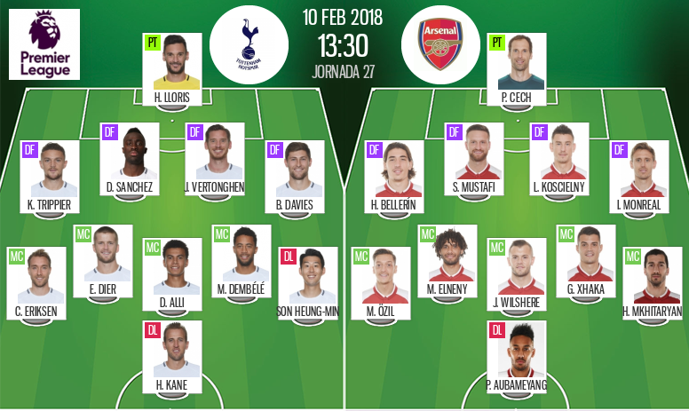 Official line-ups for the Premier League game between Tottenham and Arsenal. BeSoccer