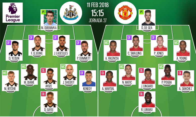 Official line-ups for the Premier League game between Newcastle and Man United. BeSoccer