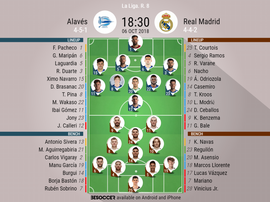 Official lineups for the LaLiga clash between Alavés and Real Madrid. BeSoccer