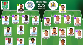 Official lineups for the Carabao Cup semi-final first leg, Man City and Bristol City. BeSoccer