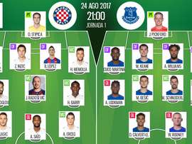 Lineups for the Europa League play-off return fixture between Hajduk Split and Everton. Besoccer