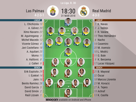 Official lineups for the La Liga game between Las Palmas and Real Madrid. BeSoccer