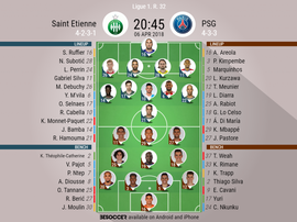 Official lineups for the Ligue 1 game between Saint-Etienne and PSG. BeSoccer