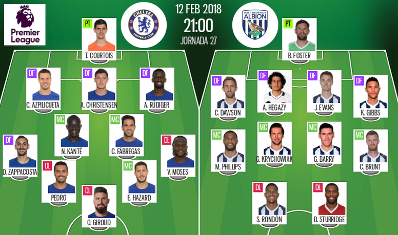 Official lineups for the Premier League clash between Chelsea and West Brom. BeSoccer