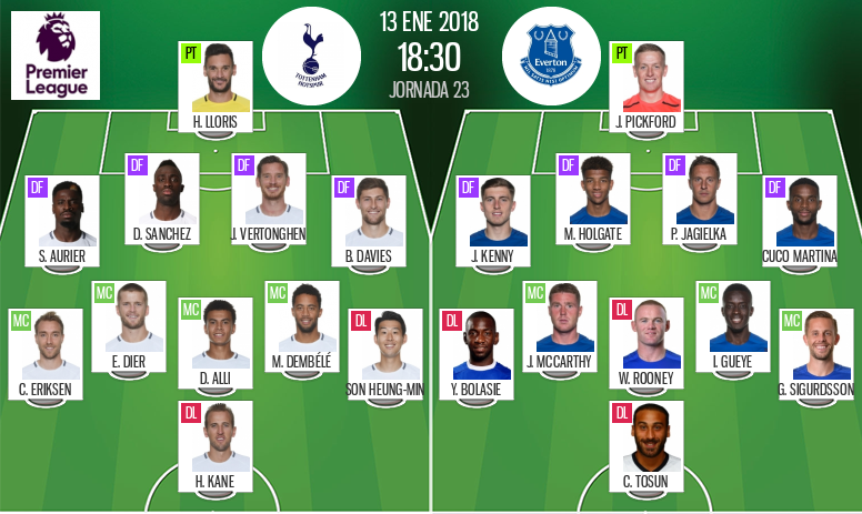 Official lineups for the Premier League game between Tottenham and Everton. BeSoccer