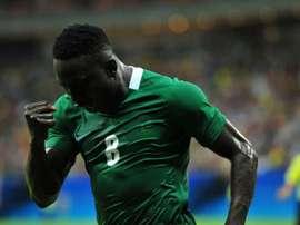 El nigeriano reforzaría la delantera canaria. AFP