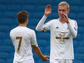 McBurnie in action for the club's U21s. Twitter/SwanseaCity
