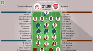 Olympiacos v Arsenal, Europa League last 32 1st leg, 20/02/20 - official-line-ups. BeSoccer