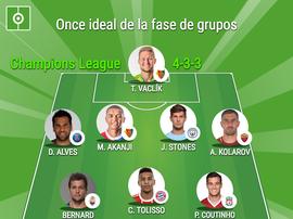 Once ideal de la fase de grupos de la Champions League 17-18. BeSoccer