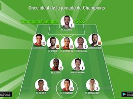 El once ideal de la jornada de Champions. BeSoccer