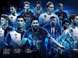 Os onze jogadores ideais. FIFPro