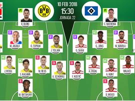 As escalações de B. Dortmund e Hamburgo para este jogo. BeSoccer