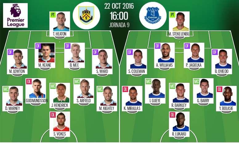 Onces de Burnley y Everton en el enfrentamiento de la novena jornada de la Premier League 2016-17. B