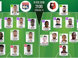 As escalações de Lyon e Rennes para este jogo. BeSoccer