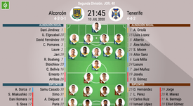 Onces del Alcorcón-Tenerife. BeSoccer