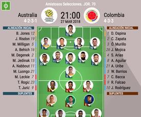 Onces de Australia y Colombia. BeSoccer