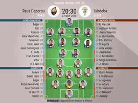 Onces de Reus y Córdoba. BeSoccer