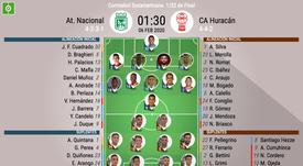Onces oficiales del Nacional-Huracán, partido de la ida de la Fase 1 de la CONMEBOL Sudamericana. BS