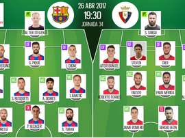 Official lineups for Barcelona-Osasuna La Liga fixture. BeSoccer