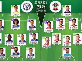 Onces oficiales del Chelsea-Southampton de la jornada 34 de la Premier League 16-17.