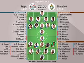 Onces oficiales del Egipto-Zimbabue, partido inaugural de esta Copa África. BeSoccer