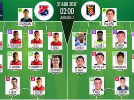 Onces oficiales del Independiente Medellín-Melgar de la Copa Libertadores. EFE