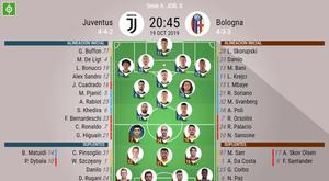 Onces oficiales del Juventus-Bologna. Serie A