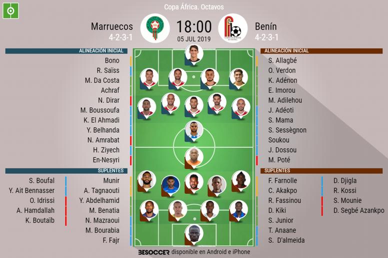 Onces oficiales del Marruecos-Benín de octavos de final de la Copa África 2019. BeSoccer
