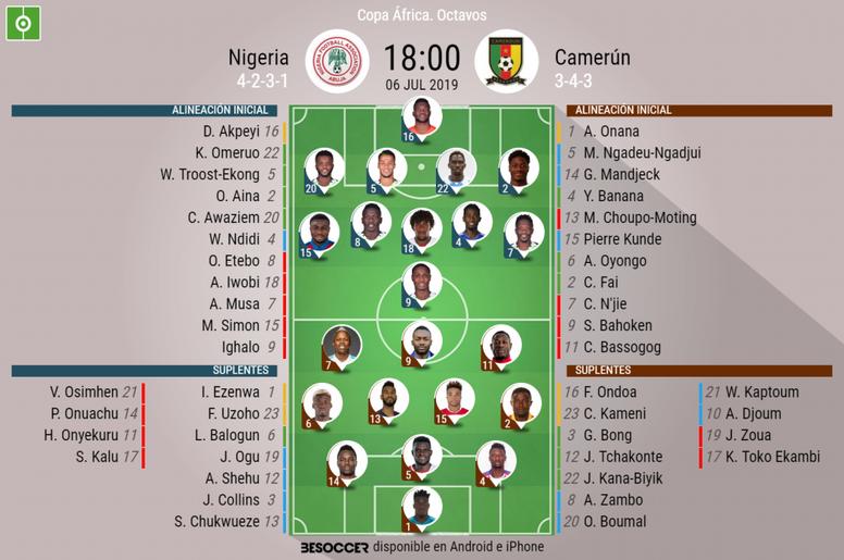 Onces confirmados del Nigeria-Camerún de la Copa África 2019. BeSoccer