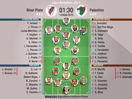 Onces oficiales del River-Palestino, partido de la Jornada 2 de la Libertadores. BeSoccer