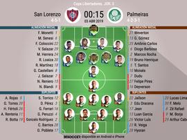 Onces oficiales del San Lorenzo-Palmeiras, partido de la Jornada 3 de la Libertadores 2019. BeSoccer