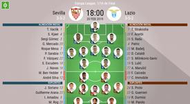 Onces oficiales del Sevilla-Lazio, partido de vuelta de los dieciseisavos de final de la EL. BeSocce