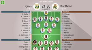 Onze do Leganés - Real Madrid para os oitavos do Copa do Rei 16/01/2019.BeSoccer