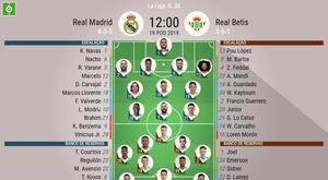 Onze inicial do Real Madrid - Betis da 38ª jornada da Liga Espanhola. BeSoccer