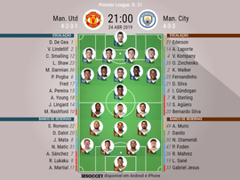 Onze inizial United - City da jornada 31 da Premier League. BeSoccer