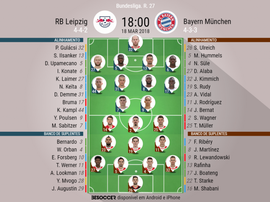 Onzes confirmados entre o Leipzig-Bayern.EFE