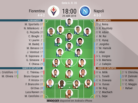 Onzes da Fiorentina -Napoli, j35 Serie A 17-18. BeSoccer