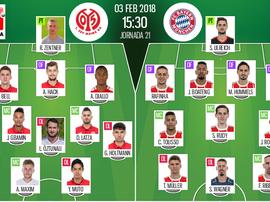 Os onzes de Mainz e Bayern para o jogo deste sábado. BeSoccer