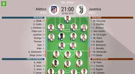 Onzes do Atlético - Juve para a primeira mão dos oitavos da Champions. BeSoccer