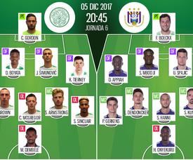 Os onzes de Celtic e Anderlecht para o desafio desta terça-feira. BeSoccer